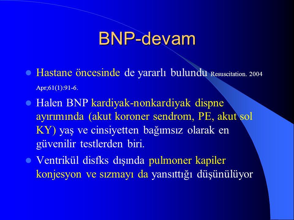 BNP-devam Hastane öncesinde de yararlı bulundu Resuscitation. 2004 Apr;61(1):91-6.