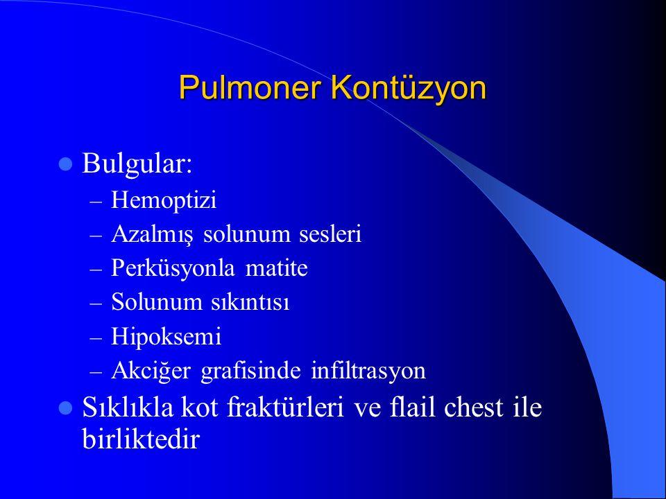 Pulmoner Kontüzyon Bulgular: