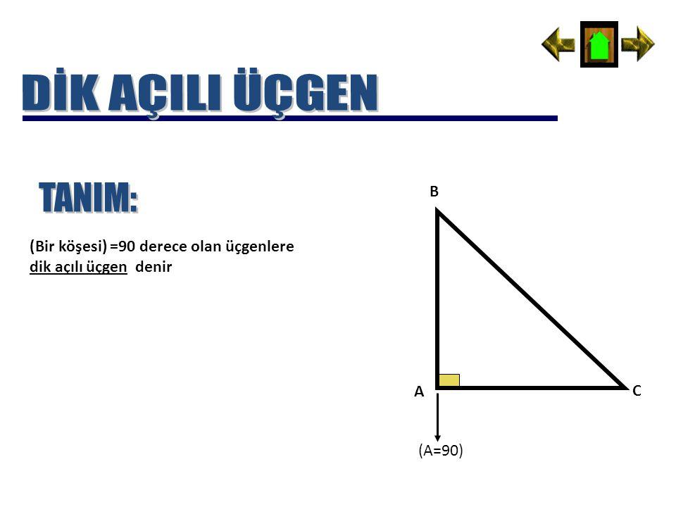 DİK AÇILI ÜÇGEN TANIM: B (Bir köşesi) =90 derece olan üçgenlere