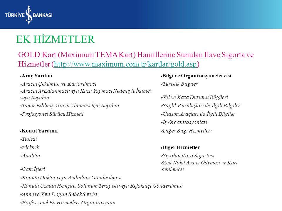 EK HİZMETLER GOLD Kart (Maximum TEMA Kart) Hamillerine Sunulan İlave Sigorta ve Hizmetler (http://www.maximum.com.tr/kartlar/gold.asp)