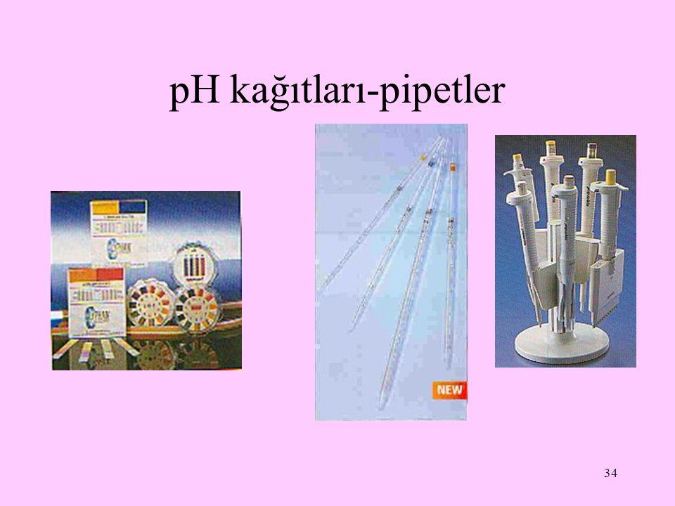 pH kağıtları-pipetler