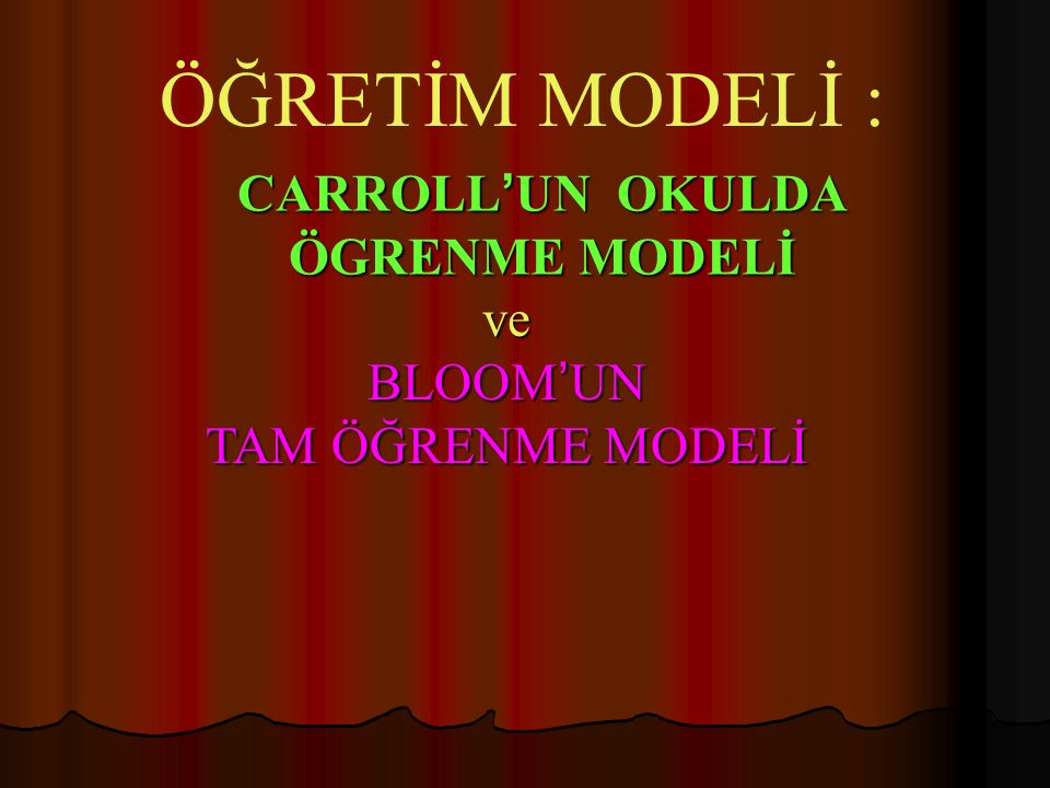 CARROLL'UN OKULDA ÖGRENME MODELİ