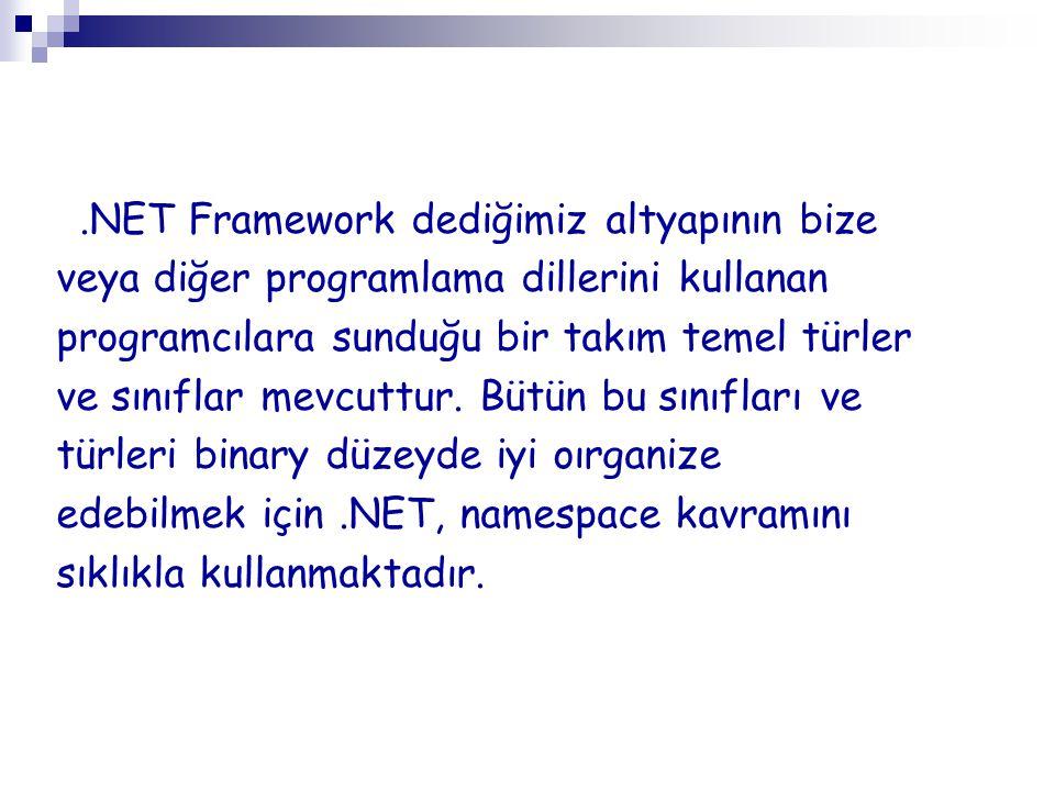 .NET Framework dediğimiz altyapının bize