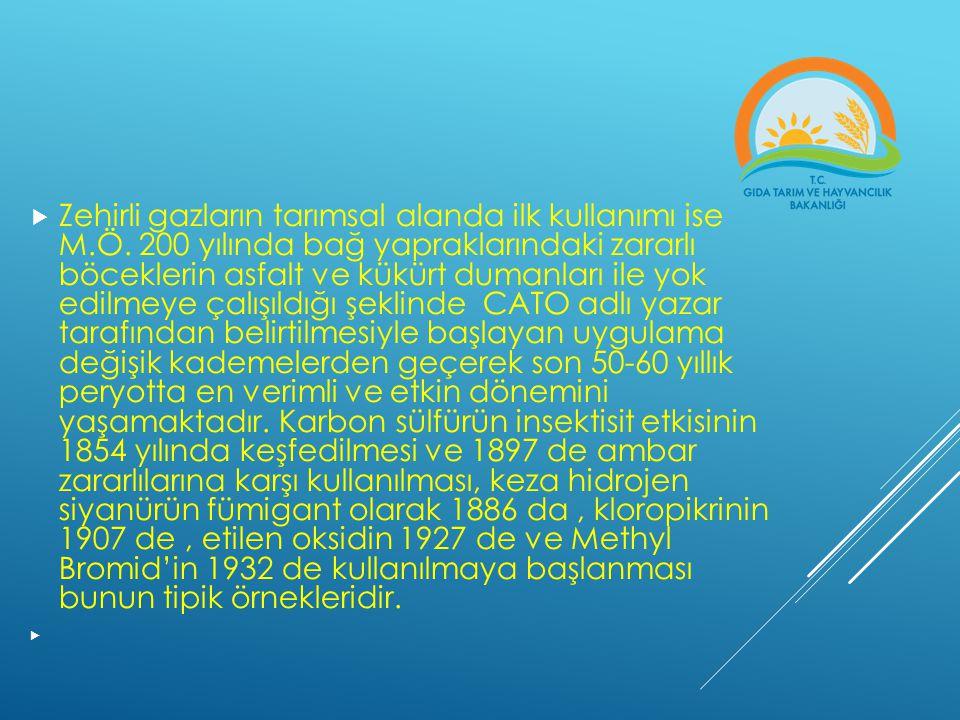 Zehirli gazların tarımsal alanda ilk kullanımı ise M. Ö