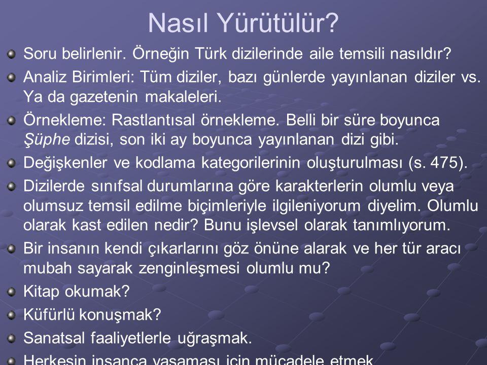 Nasıl Yürütülür Soru belirlenir. Örneğin Türk dizilerinde aile temsili nasıldır