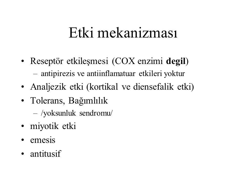 Etki mekanizması Reseptör etkileşmesi (COX enzimi degil)