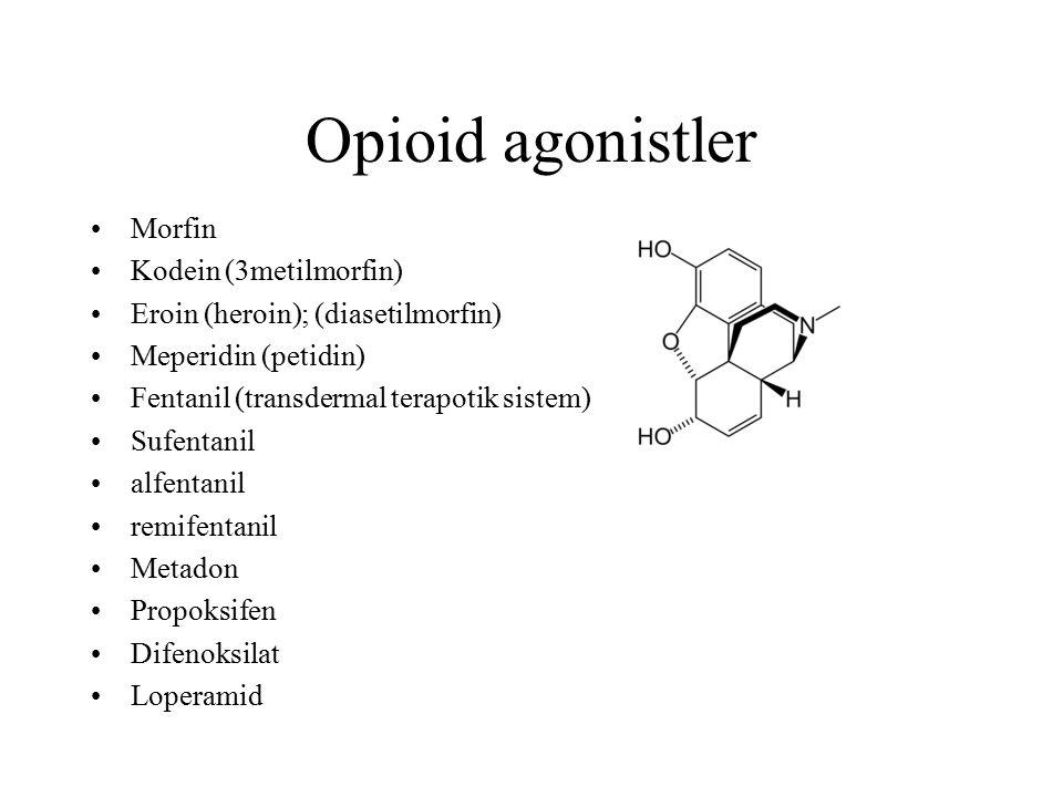 Opioid agonistler Morfin Kodein (3metilmorfin)