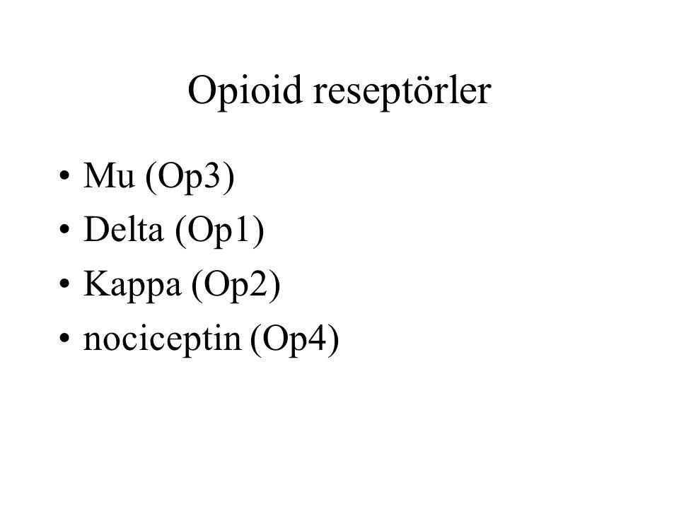 Opioid reseptörler Mu (Op3) Delta (Op1) Kappa (Op2) nociceptin (Op4)