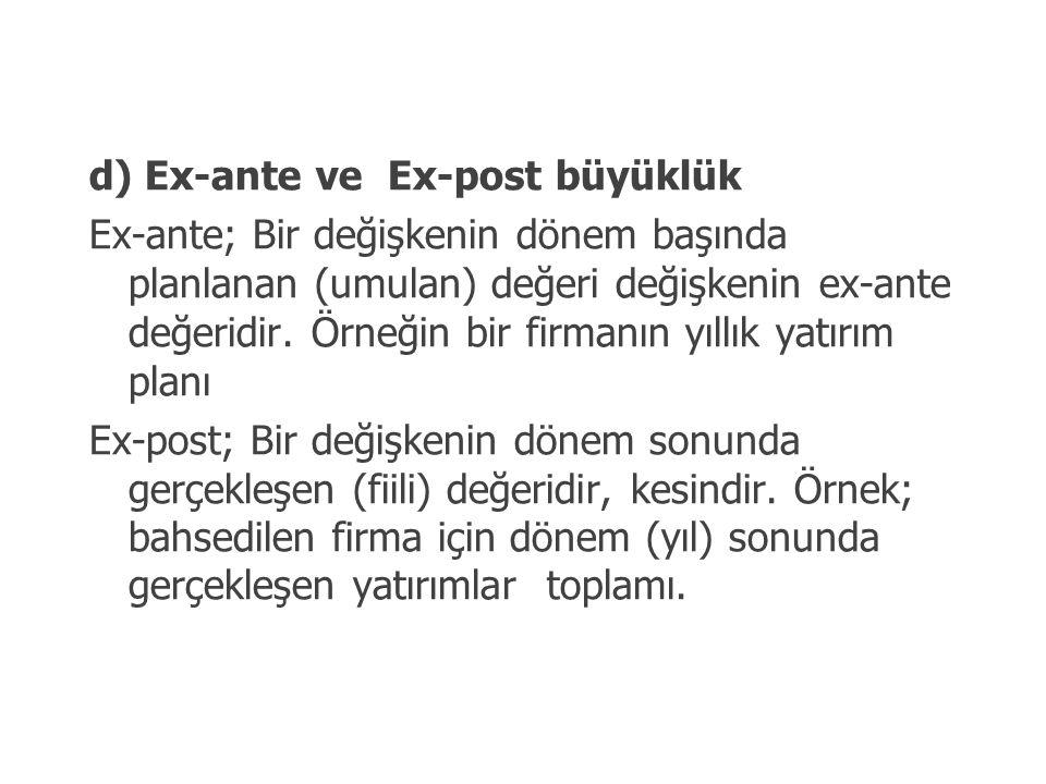 d) Ex-ante ve Ex-post büyüklük