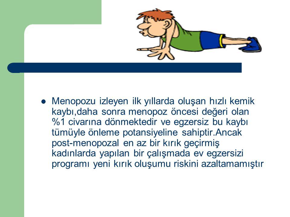 Menopozu izleyen ilk yıllarda oluşan hızlı kemik kaybı,daha sonra menopoz öncesi değeri olan %1 civarına dönmektedir ve egzersiz bu kaybı tümüyle önleme potansiyeline sahiptir.Ancak post-menopozal en az bir kırık geçirmiş kadınlarda yapılan bir çalışmada ev egzersizi programı yeni kırık oluşumu riskini azaltamamıştır