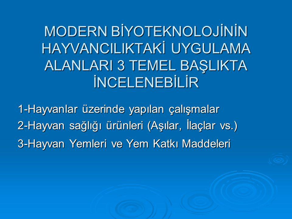 MODERN BİYOTEKNOLOJİNİN HAYVANCILIKTAKİ UYGULAMA ALANLARI 3 TEMEL BAŞLIKTA İNCELENEBİLİR