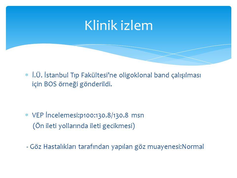 Klinik izlem İ.Ü. İstanbul Tıp Fakültesi'ne oligoklonal band çalışılması için BOS örneği gönderildi.