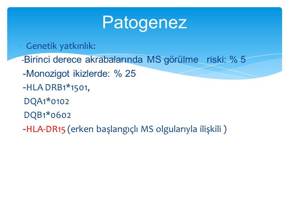 Patogenez Genetik yatkınlık: