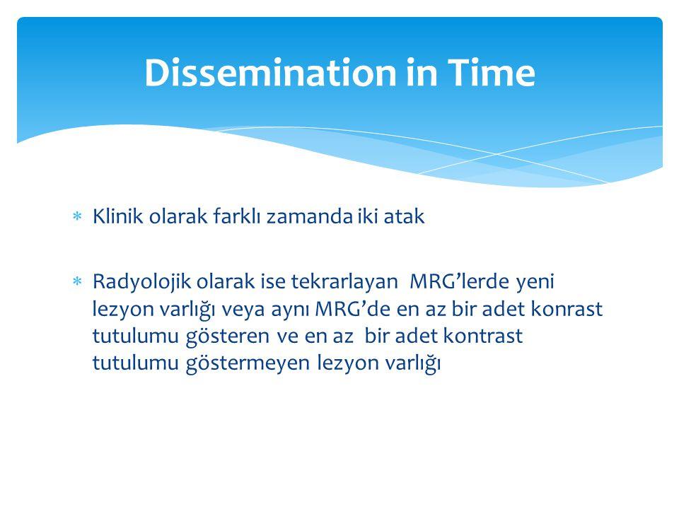 Dissemination in Time Klinik olarak farklı zamanda iki atak