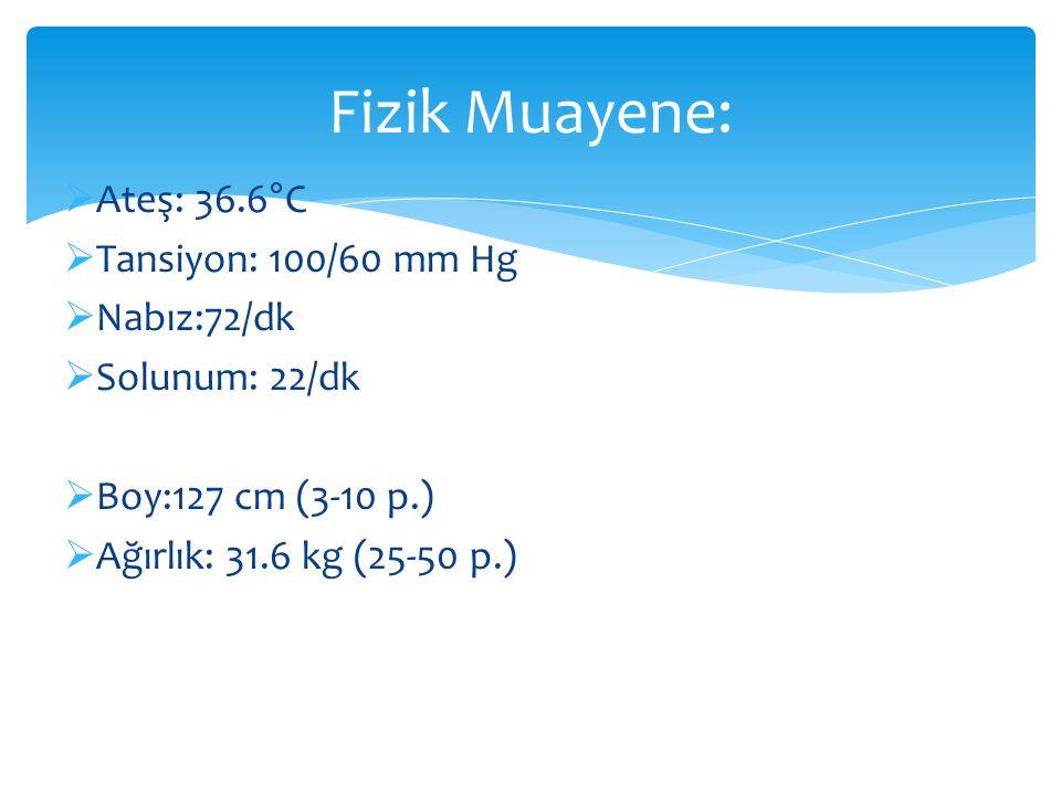 Fizik Muayene: Ateş: 36.6°C Tansiyon: 100/60 mm Hg Nabız:72/dk