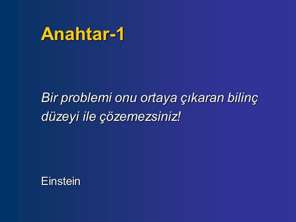 Anahtar-1 Bir problemi onu ortaya çıkaran bilinç düzeyi ile çözemezsiniz! Einstein