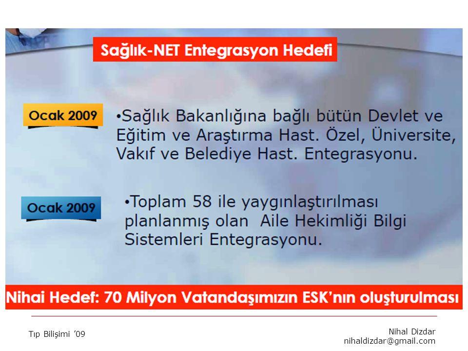 Tıp Bilişimi '09 Nihal Dizdar nihaldizdar@gmail.com