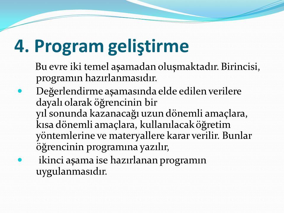 4. Program geliştirme Bu evre iki temel aşamadan oluşmaktadır. Birincisi, programın hazırlanmasıdır.