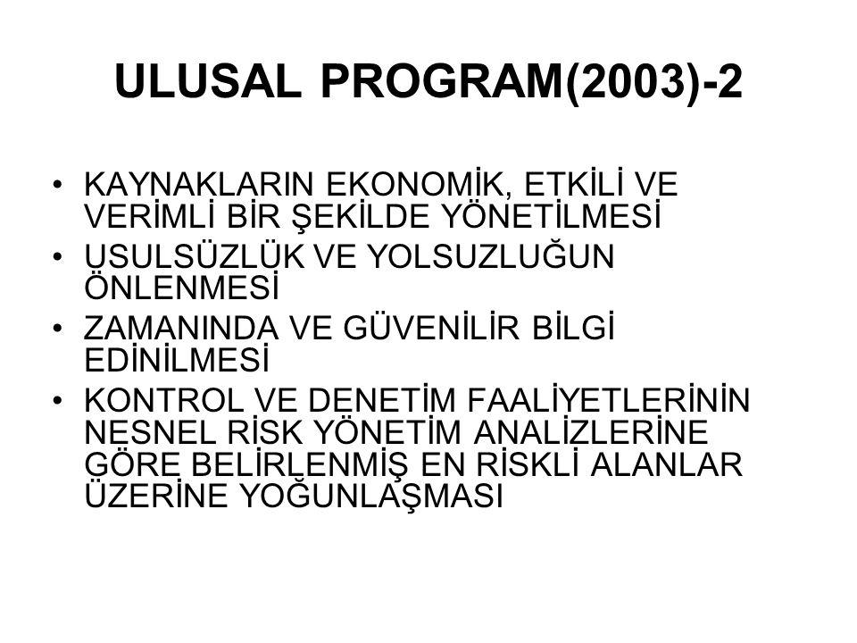 ULUSAL PROGRAM(2003)-2 KAYNAKLARIN EKONOMİK, ETKİLİ VE VERİMLİ BİR ŞEKİLDE YÖNETİLMESİ. USULSÜZLÜK VE YOLSUZLUĞUN ÖNLENMESİ.