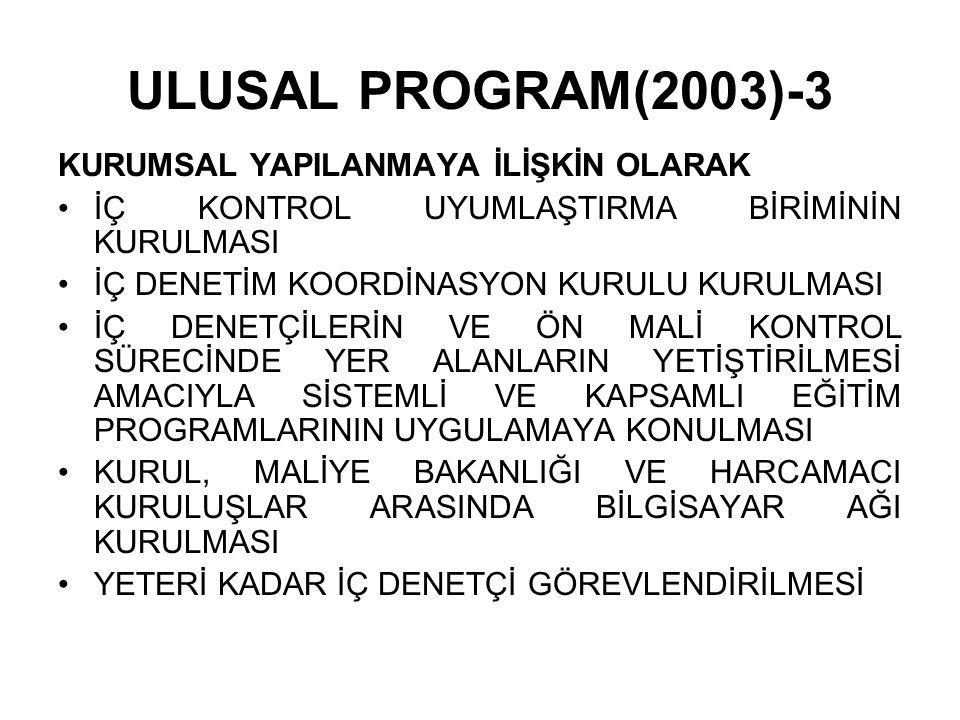 ULUSAL PROGRAM(2003)-3 KURUMSAL YAPILANMAYA İLİŞKİN OLARAK