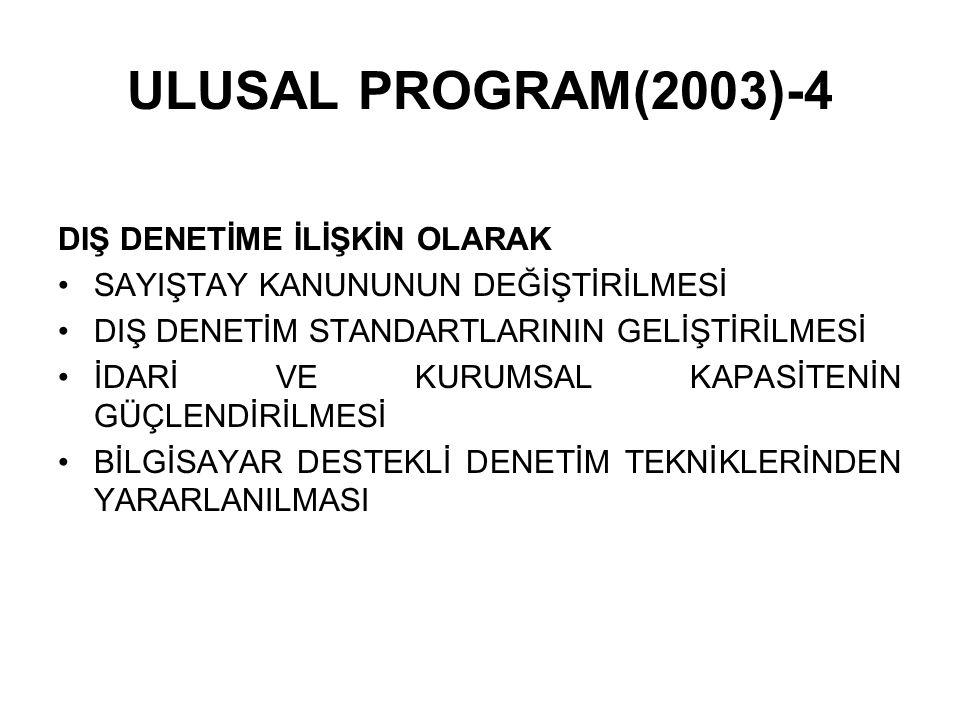ULUSAL PROGRAM(2003)-4 DIŞ DENETİME İLİŞKİN OLARAK