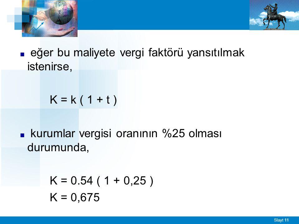 ÖRNEK - 2 Hisse senedinin piyasa fiyatı 2000 TL, yıllık pay