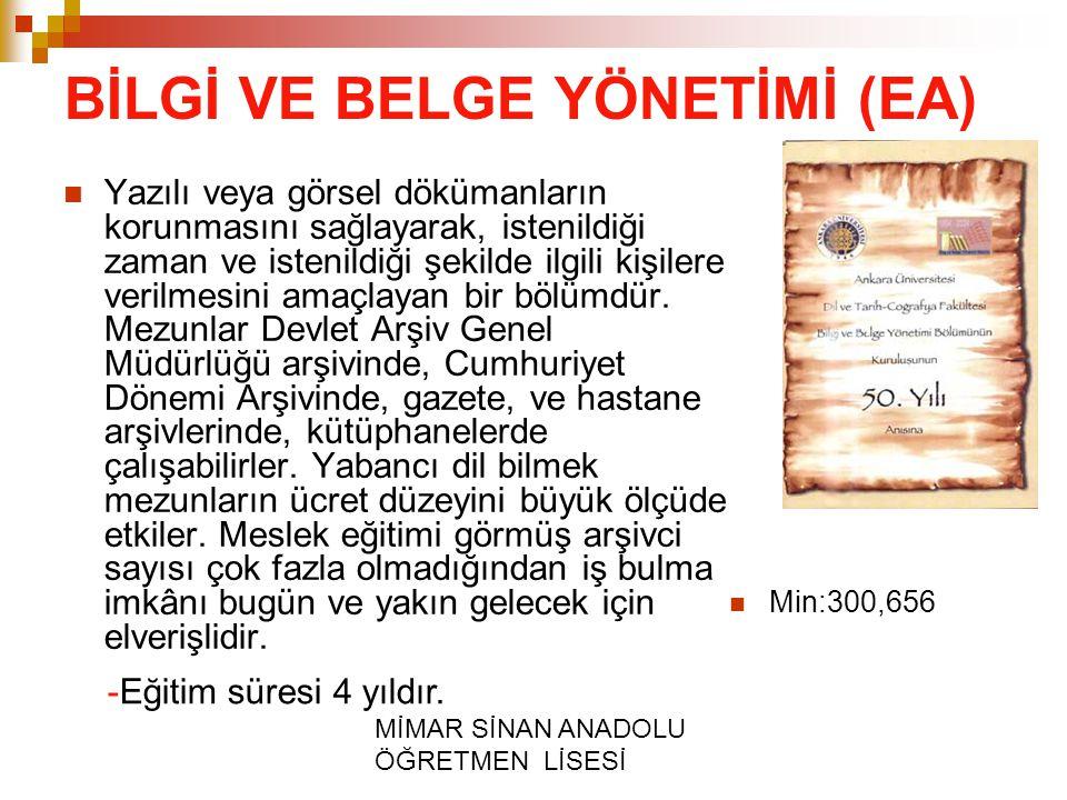 BİLGİ VE BELGE YÖNETİMİ (EA)
