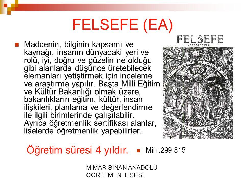 FELSEFE (EA) Öğretim süresi 4 yıldır.