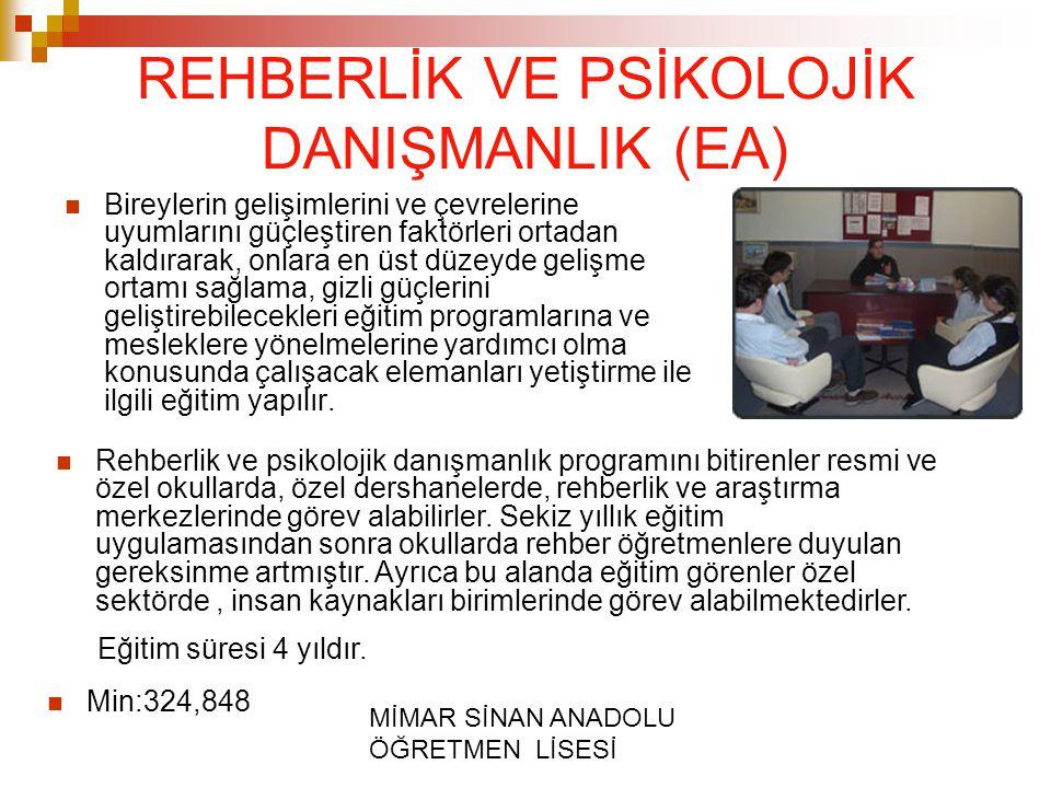 REHBERLİK VE PSİKOLOJİK DANIŞMANLIK (EA)