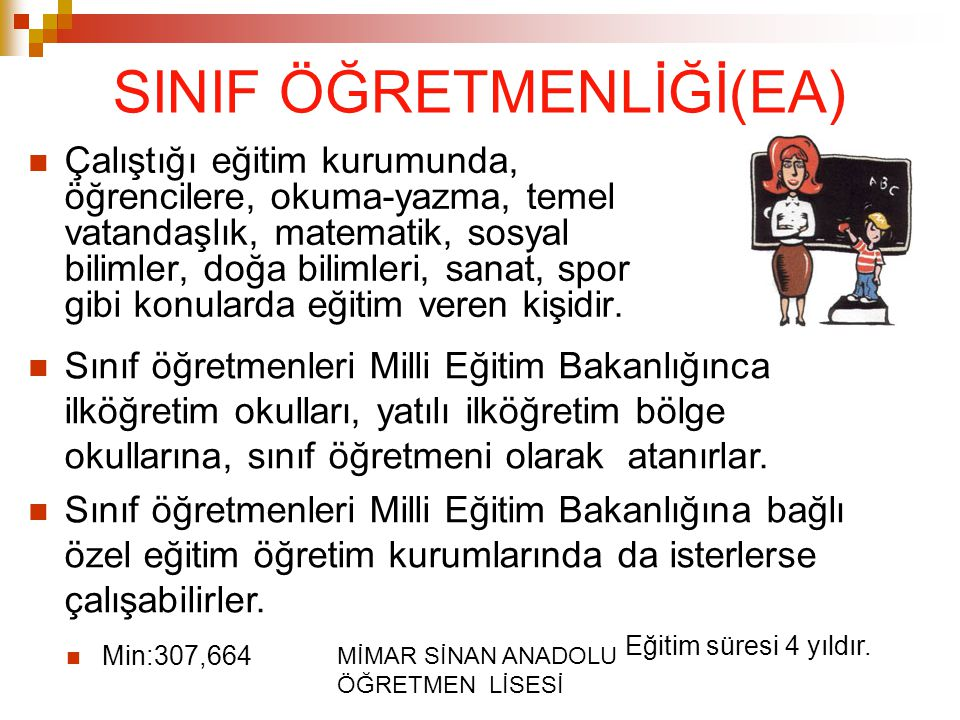 SINIF ÖĞRETMENLİĞİ(EA)