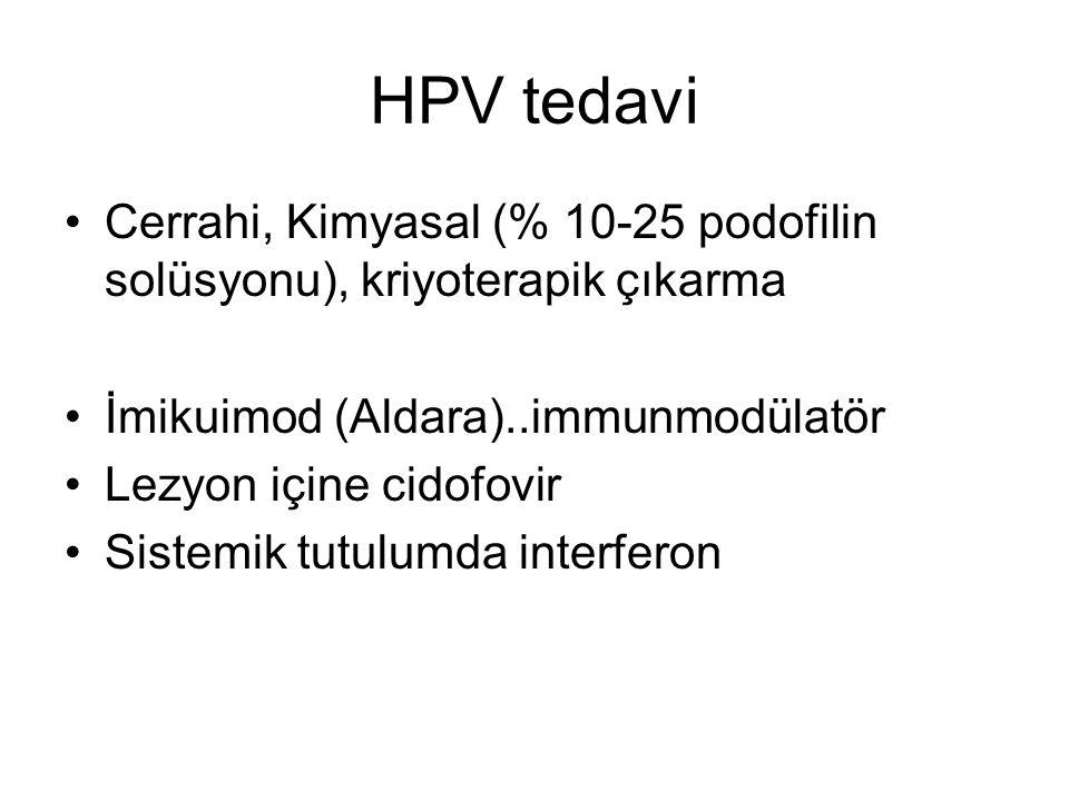 HPV tedavi Cerrahi, Kimyasal (% 10-25 podofilin solüsyonu), kriyoterapik çıkarma. İmikuimod (Aldara)..immunmodülatör.