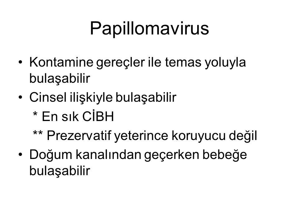 Papillomavirus Kontamine gereçler ile temas yoluyla bulaşabilir