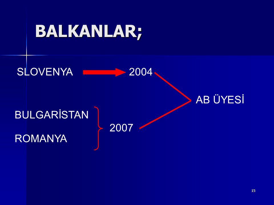 BALKANLAR; SLOVENYA 2004 AB ÜYESİ BULGARİSTAN 2007 ROMANYA