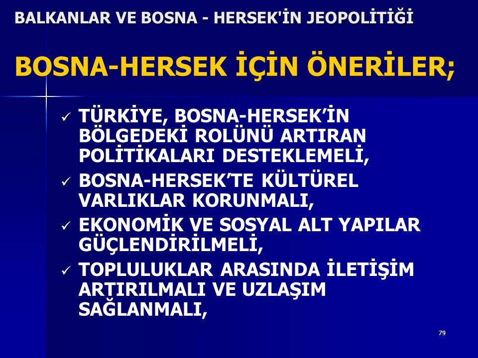 BOSNA-HERSEK İÇİN ÖNERİLER;