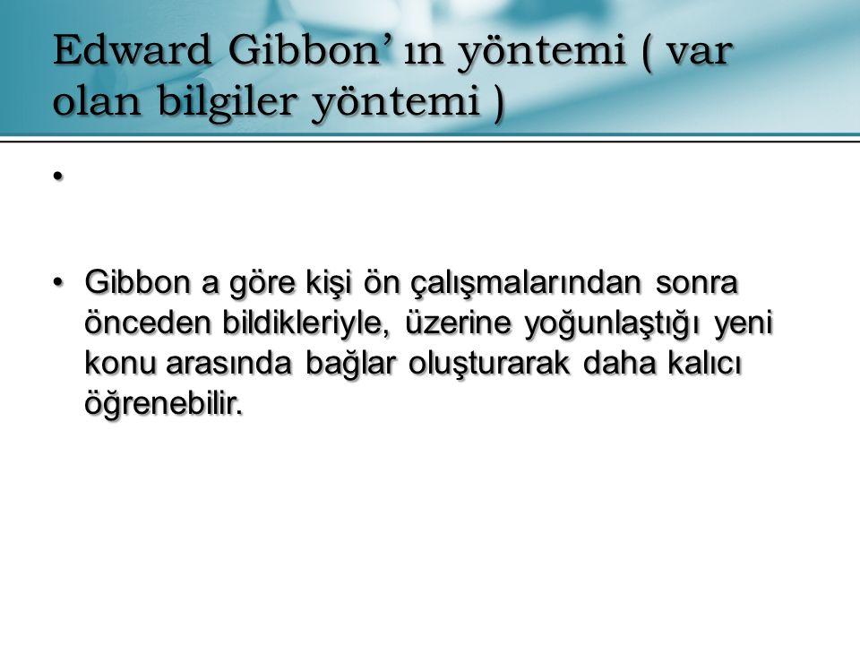 Edward Gibbon' ın yöntemi ( var olan bilgiler yöntemi )