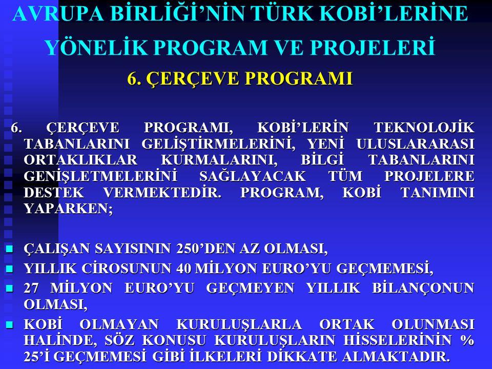 AVRUPA BİRLİĞİ'NİN TÜRK KOBİ'LERİNE YÖNELİK PROGRAM VE PROJELERİ