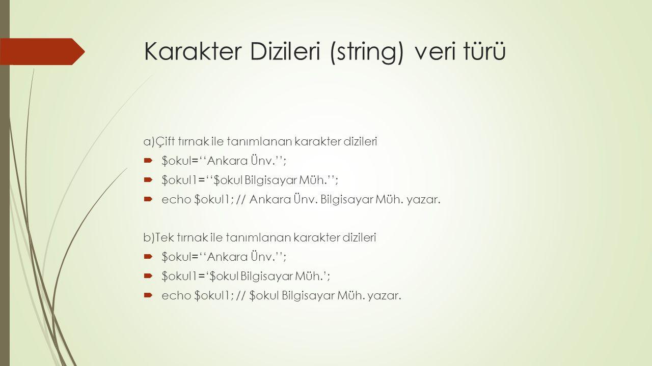 Karakter Dizileri (string) veri türü