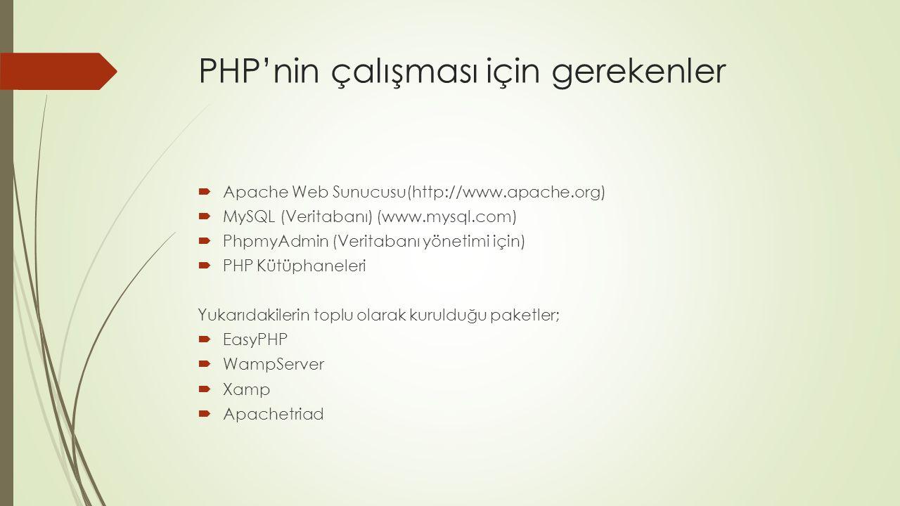 PHP'nin çalışması için gerekenler