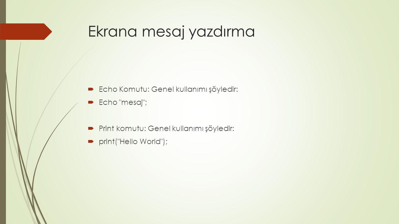 Ekrana mesaj yazdırma Echo Komutu: Genel kullanımı şöyledir: