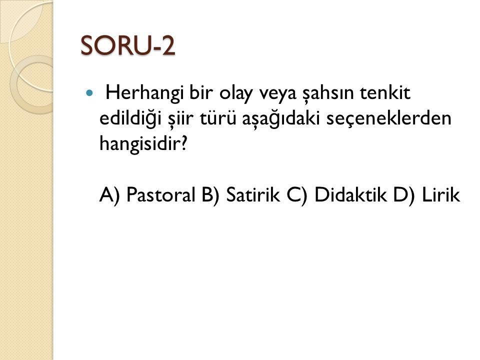 SORU-2 Herhangi bir olay veya şahsın tenkit edildiği şiir türü aşağıdaki seçeneklerden hangisidir.