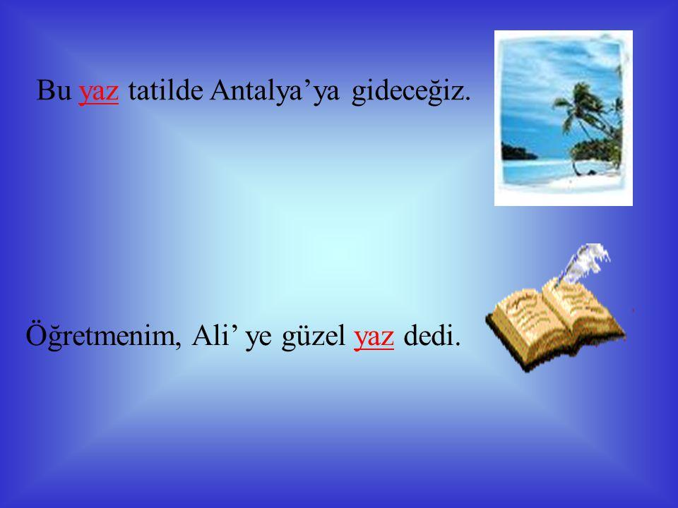 Bu yaz tatilde Antalya'ya gideceğiz.