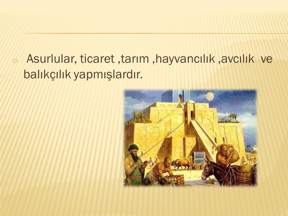 Asurlular, ticaret ,tarım ,hayvancılık ,avcılık ve balıkçılık yapmışlardır.