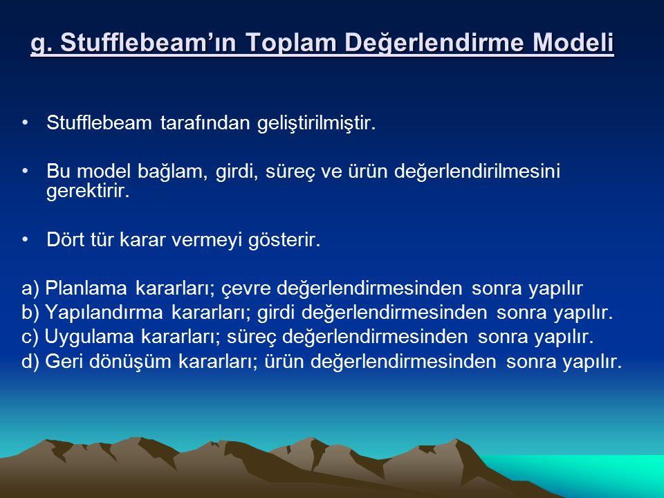 g. Stufflebeam'ın Toplam Değerlendirme Modeli