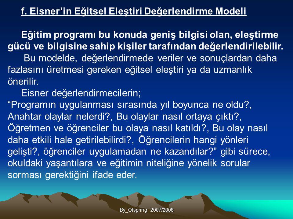 f. Eisner'in Eğitsel Eleştiri Değerlendirme Modeli