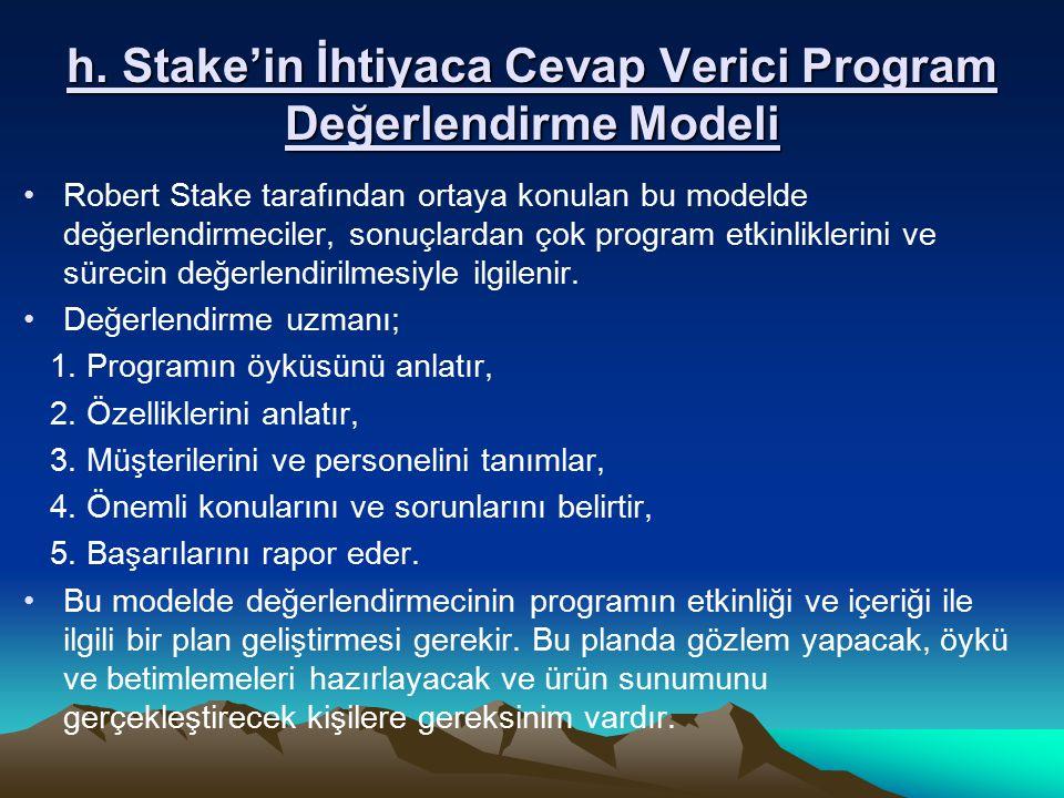 h. Stake'in İhtiyaca Cevap Verici Program Değerlendirme Modeli