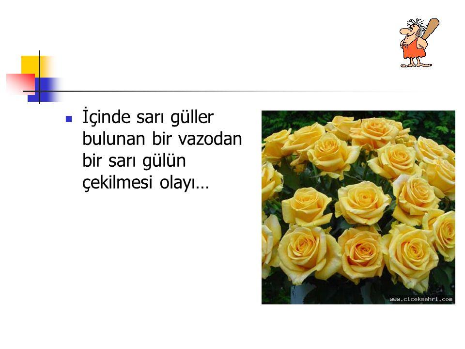 İçinde sarı güller bulunan bir vazodan bir sarı gülün çekilmesi olayı…