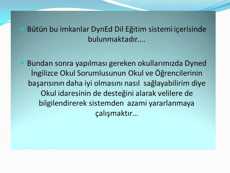 Bütün bu imkanlar DynEd Dil Eğitim sistemi içerisinde bulunmaktadır….