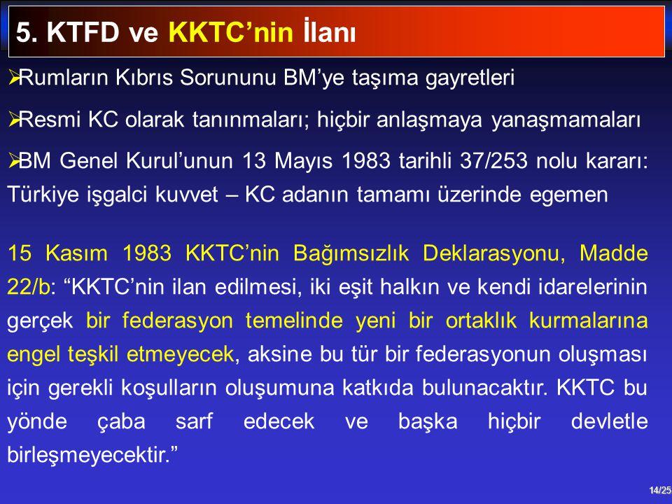 5. KTFD ve KKTC'nin İlanı Rumların Kıbrıs Sorununu BM'ye taşıma gayretleri. Resmi KC olarak tanınmaları; hiçbir anlaşmaya yanaşmamaları.