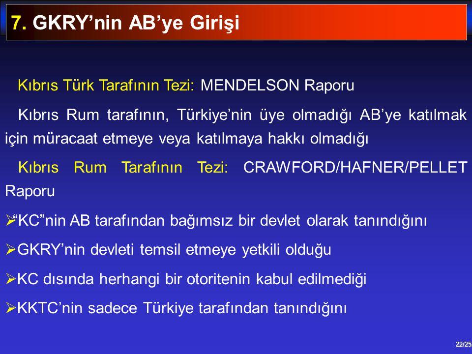 7. GKRY'nin AB'ye Girişi Kıbrıs Türk Tarafının Tezi: MENDELSON Raporu