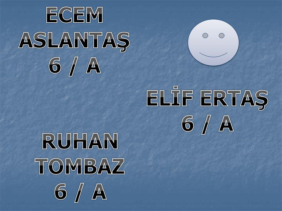 ECEM ASLANTAŞ 6 / A ELİF ERTAŞ 6 / A RUHAN TOMBAZ 6 / A